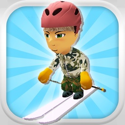 A Downhill Snow Skier: 3D Mountain Skiing Game - FREE Edition