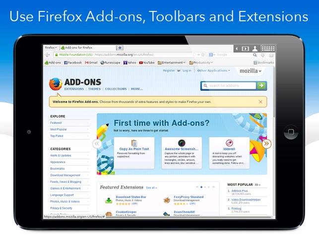 VirtualBrowser for Firefox + Flash Player, Java browser & Add-ons - iPad  edition