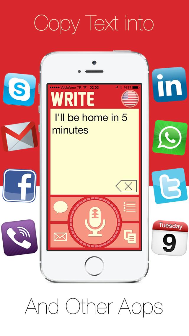 Write - ワンタッチスピーチをダイレクトメッセージのSMSメールやリマインダーでディクテーション、音声認識をテキストに。のおすすめ画像5