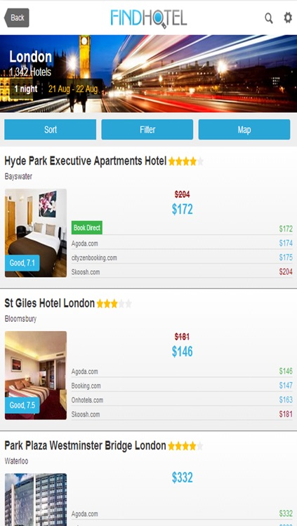 Hotel Search - FindHotel App that Compares Prices for Sameday & Nearby Hotels Worldwide: Easy and Direct Reservation & Booking of a Cheap or Luxury Stay. Also Hostels or Bed & Breakfast for tonight or weekend, just as deals and last minute rooms!