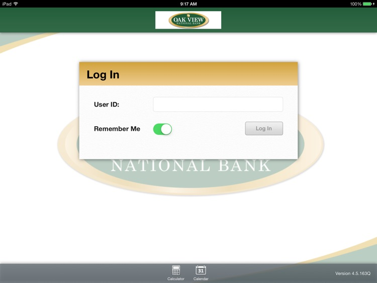 Oak View National Bank for iPad