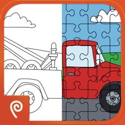 Color It Puzzle It: Trucks