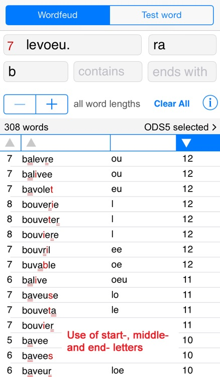 F Words Finder Wordfeud Français/French - find the best words for Wordfeud, crossword and cryptogram