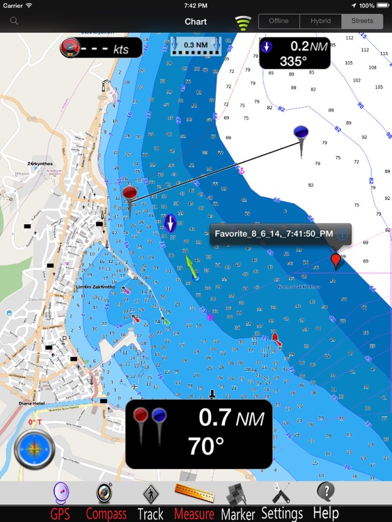 Greece West nautical Chart HD: marine & lake gps waypoint, route and track for boating cruising fishing yachting sailing diving