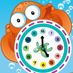 What time is it? Game for children to learn how to read a clock with the animals of the ocean with games and exercises for kindergarten, preschool or nursery school