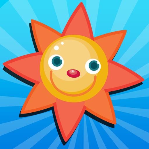 アクティブ! 子どもたちは、太陽、雨、雲と天気について学ぶためのゲーム