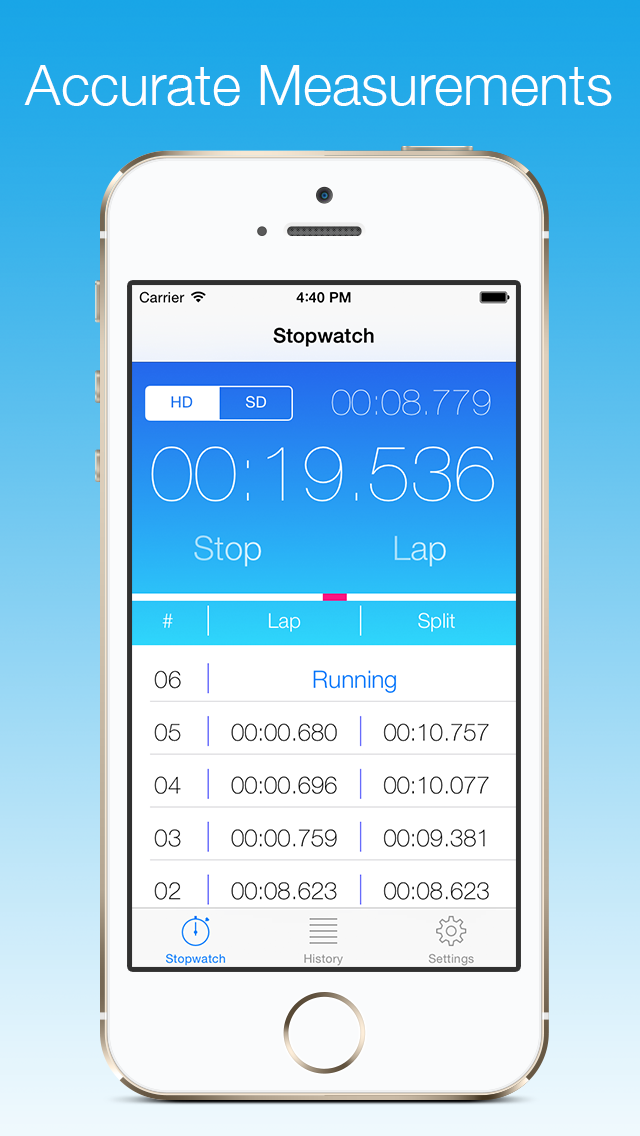 Stopwatch - A professional and accurate stopwatch with milliseconds precision Screenshot 1