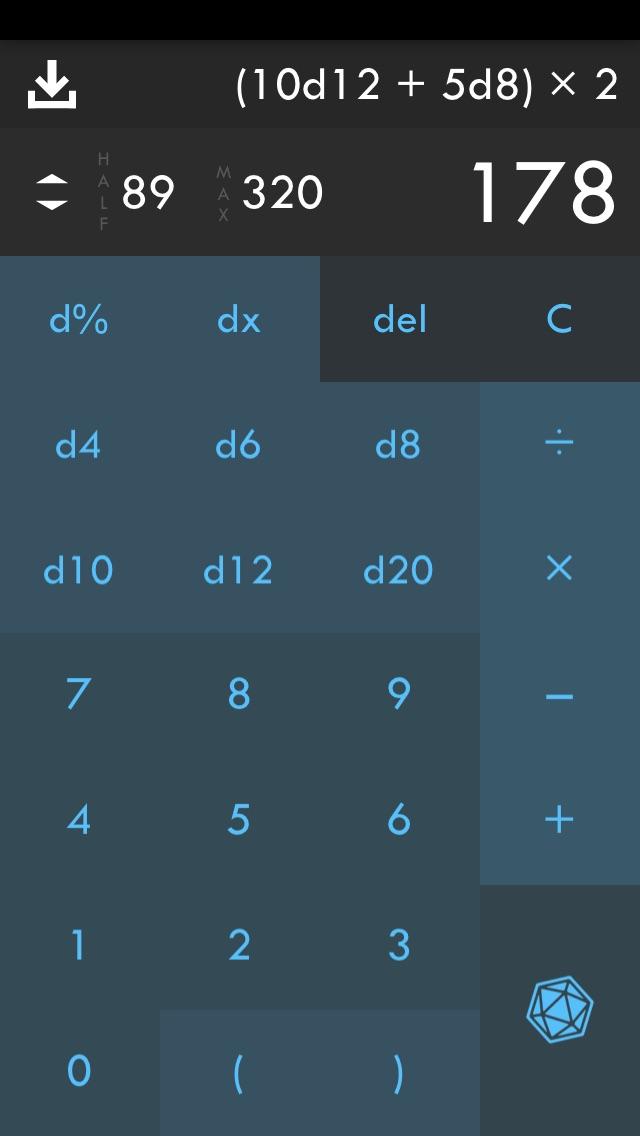 d20 Calculator Screenshot