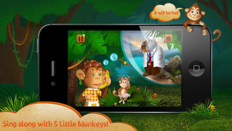 Kids Apps ∙ 5 Little Monkeys jumping on the bed. Interactive Nursery Rhymes.