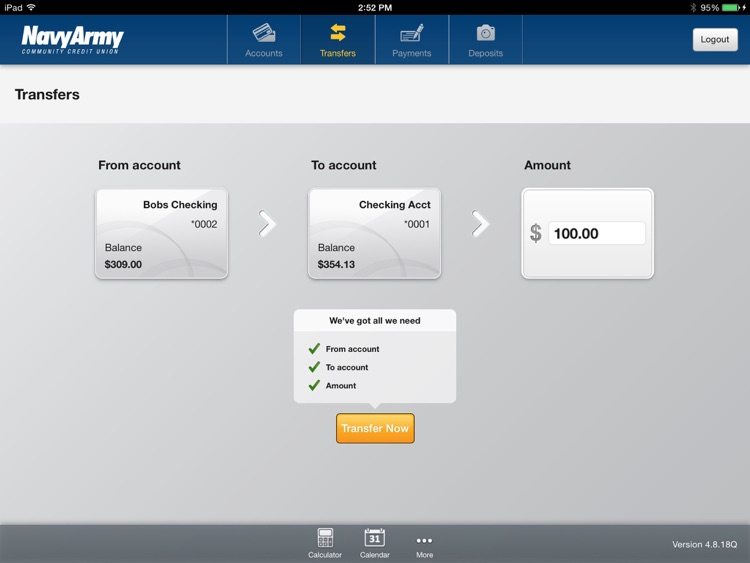 Navy Army CCU Mobile Banking for iPad screenshot-3