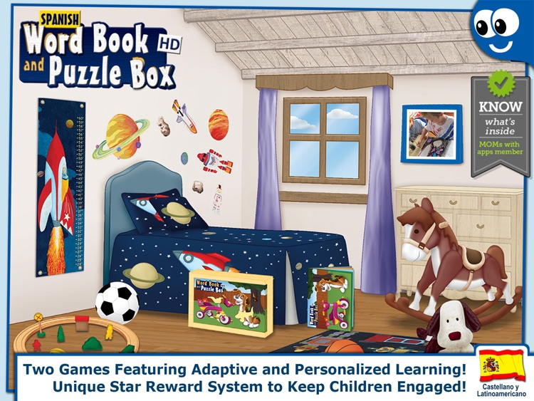 Spanish First Words Book and Kids Puzzles Box: Kids Favorite Activity Center in an Interactive Playing Room screenshot-0