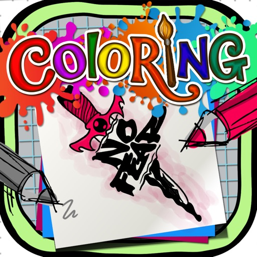 Coloring Book : Painting Pictures on Tattoo Fonts for Pro