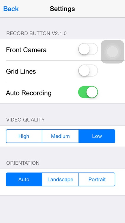 Record Button - One Touch Video Capture