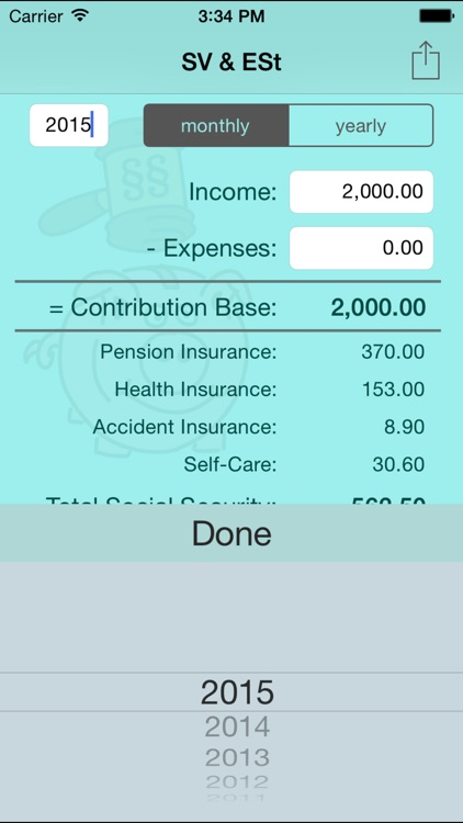 SV & ESt - social security (SVA) and income tax calculator for self-employed people in Austria