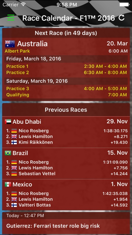 Race Calendar 2016 screenshot-0