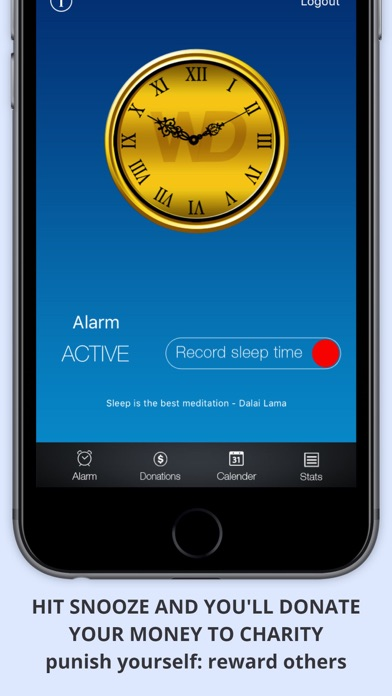 WAKEorDONATE Free AlarmClock. Sleep in for Charity screenshot one