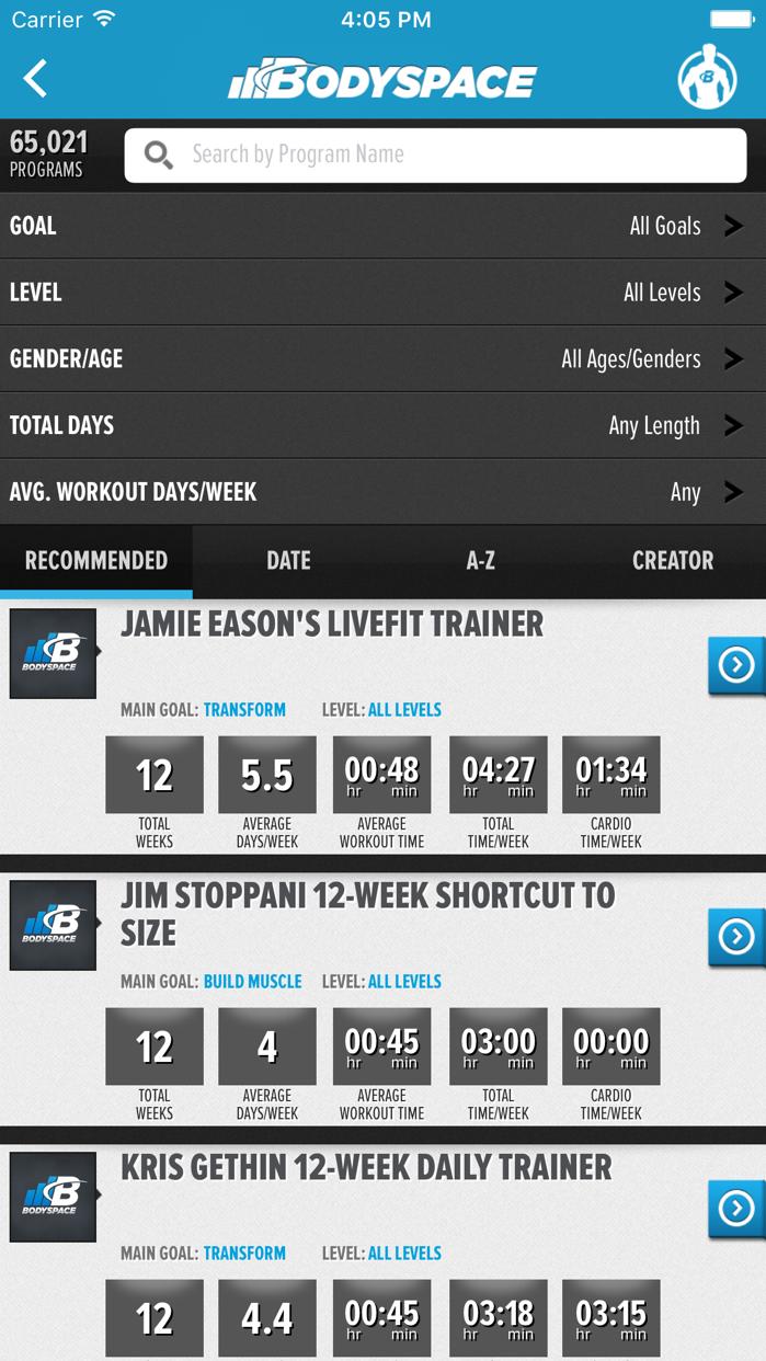 BodySpace - Social Fitness App Screenshot
