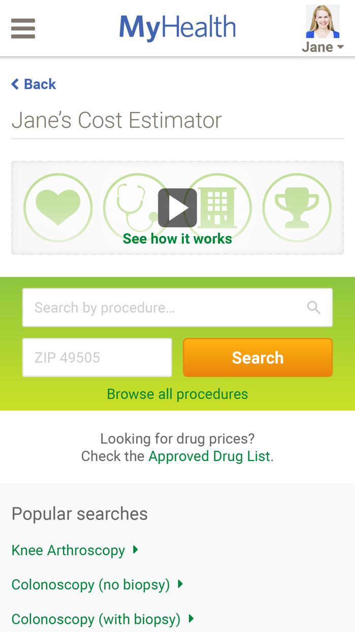 Spectrum Health MyHealth Screenshot
