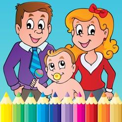 çocuklar Için Aile Boyama Kitabı Ve Okul öncesi Yürüyor çizim App