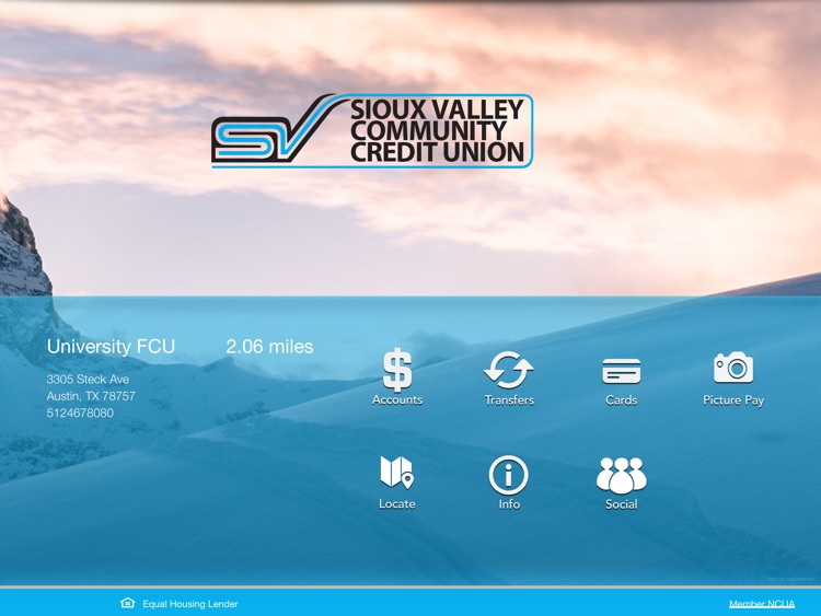 Sioux Valley Community Credit Union for iPad