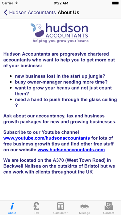 Hudson Accountants screenshot one
