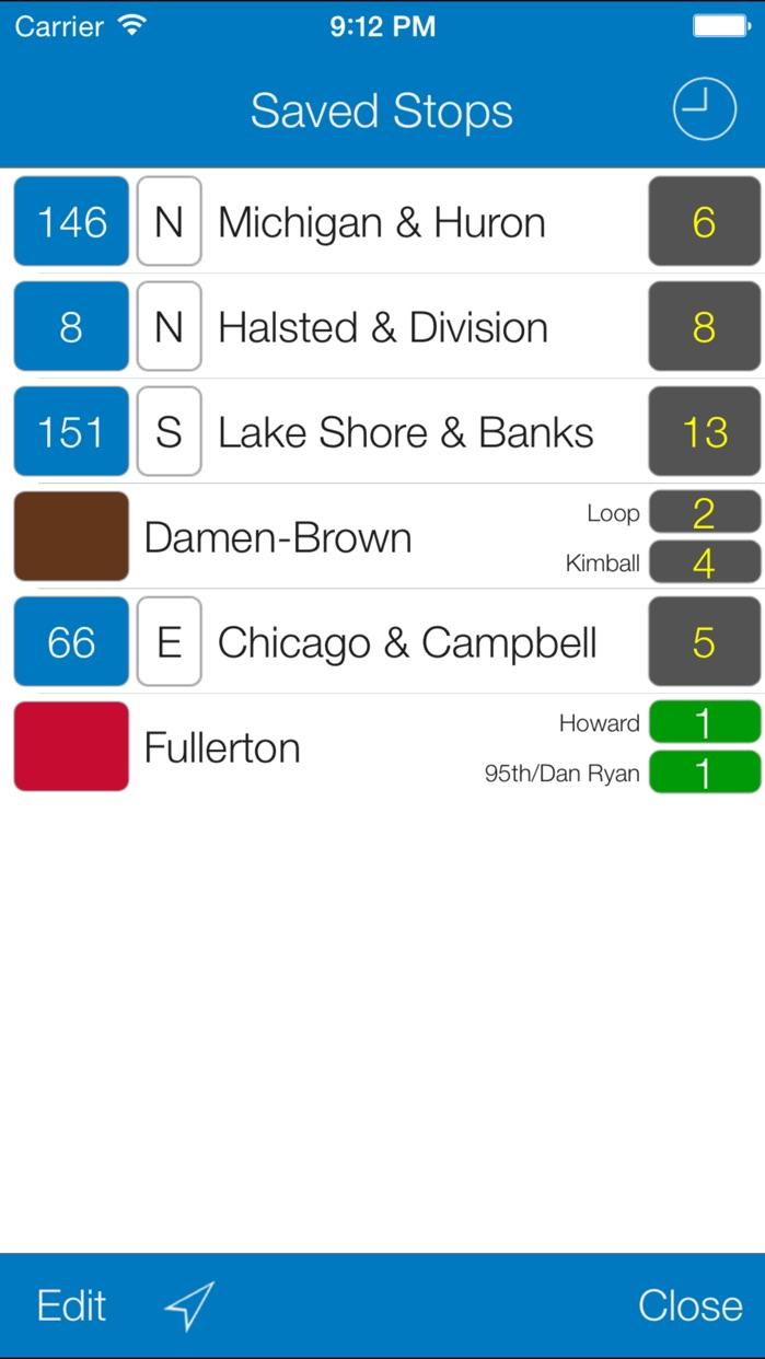 Transit Stop: CTA Tracker. Screenshot