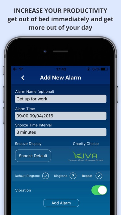 WAKEorDONATE Free AlarmClock. Sleep in for Charity screenshot two