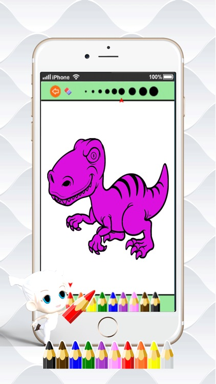 Dino Paint Drawing Color : Cute Caricature Art Idea Pages For Kids screenshot-3