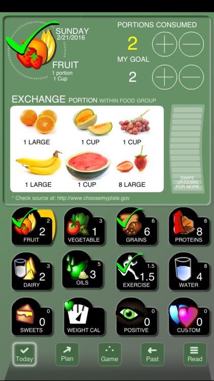Checkoff Portions Diet Tracker - Visual Group Exchanges screenshot-0