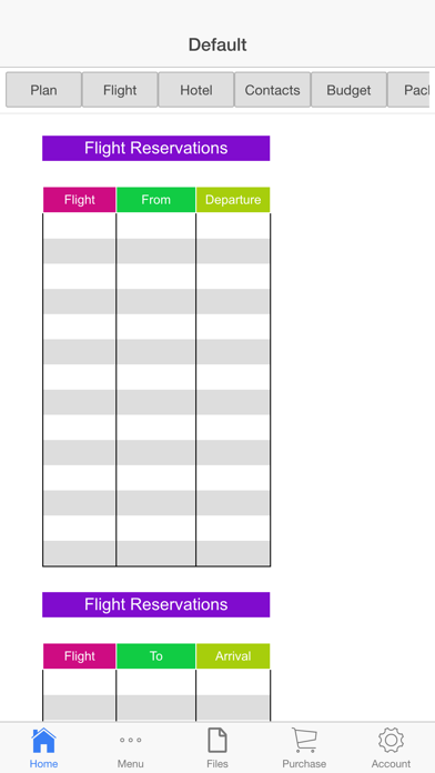 Vacation Planner Screenshots