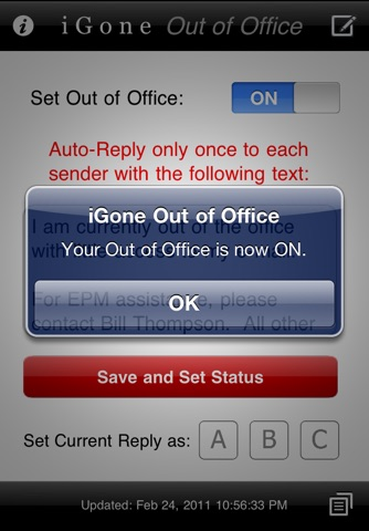 Screenshot of iGone Out of Office (Outlook Web Access)