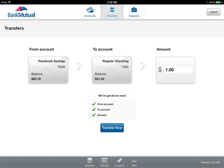 Bank Mutual Mobile Banking for iPad screenshot-3