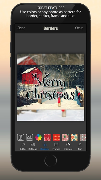 Xmas Photo Card Maker : Merry Christmas & Happy New Year Stickers, Borders, Pic Frames