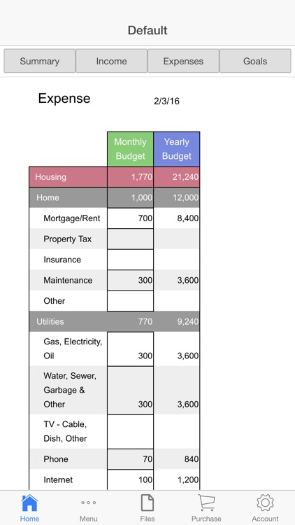 Home Budget Ledger