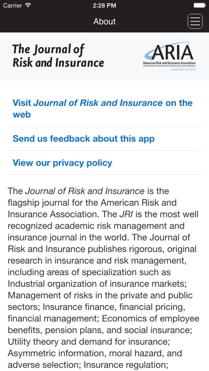 Journal of Risk and Insurance screenshot-0