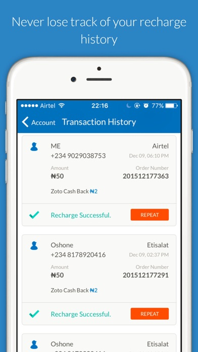 Zoto - Mobile Airtime Recharge iOS Application Version 2 2 7
