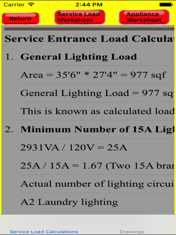 screenshot #2 for electrical load calculator & electrical plan example