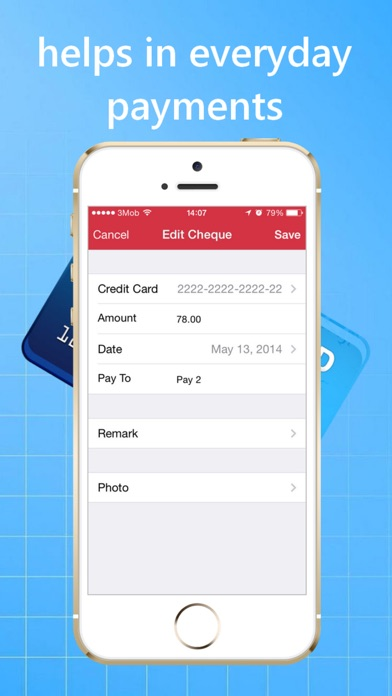 Credit Cards and Cheques Keeper iPhone