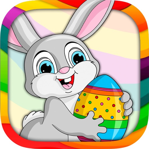 Painting Easter - coloring book eggs and rabbits