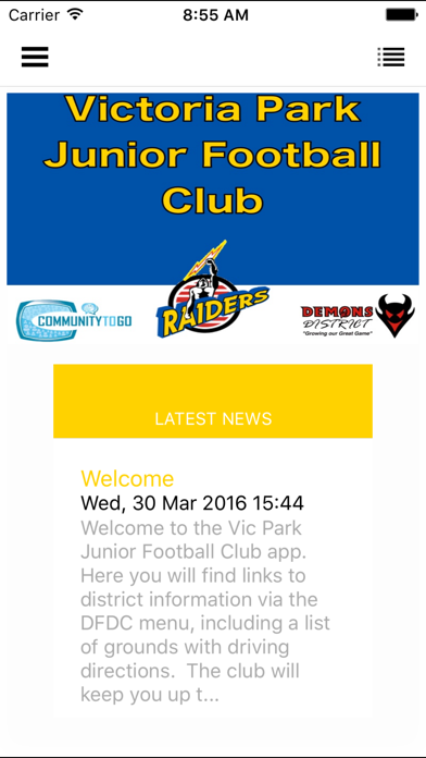 Vic Park Junior Football Club screenshot one