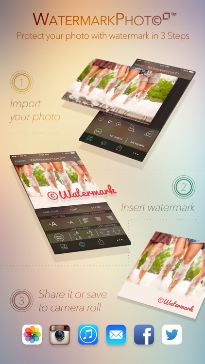 Watermark Photo Square - Batch Your Pictures Fotos and Images with Watermarking App for Instagram Facebook Twitter