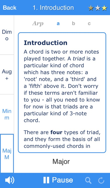 Chordelia Triad Tutor - learn to hear Major, Minor, Augmented and Diminished chords - for the beginner and advanced musician who plays Guitar, Ukulele, Sax and more