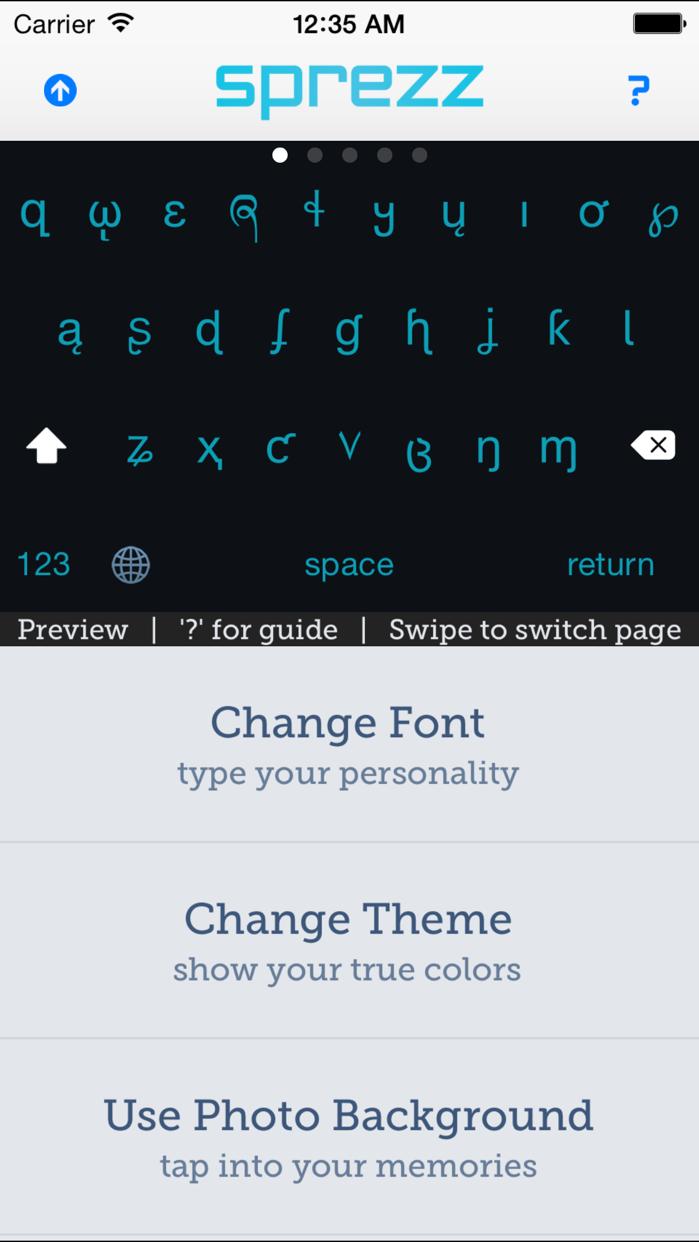 Sprezz - Custom Keyboard Themes and Fonts Screenshot