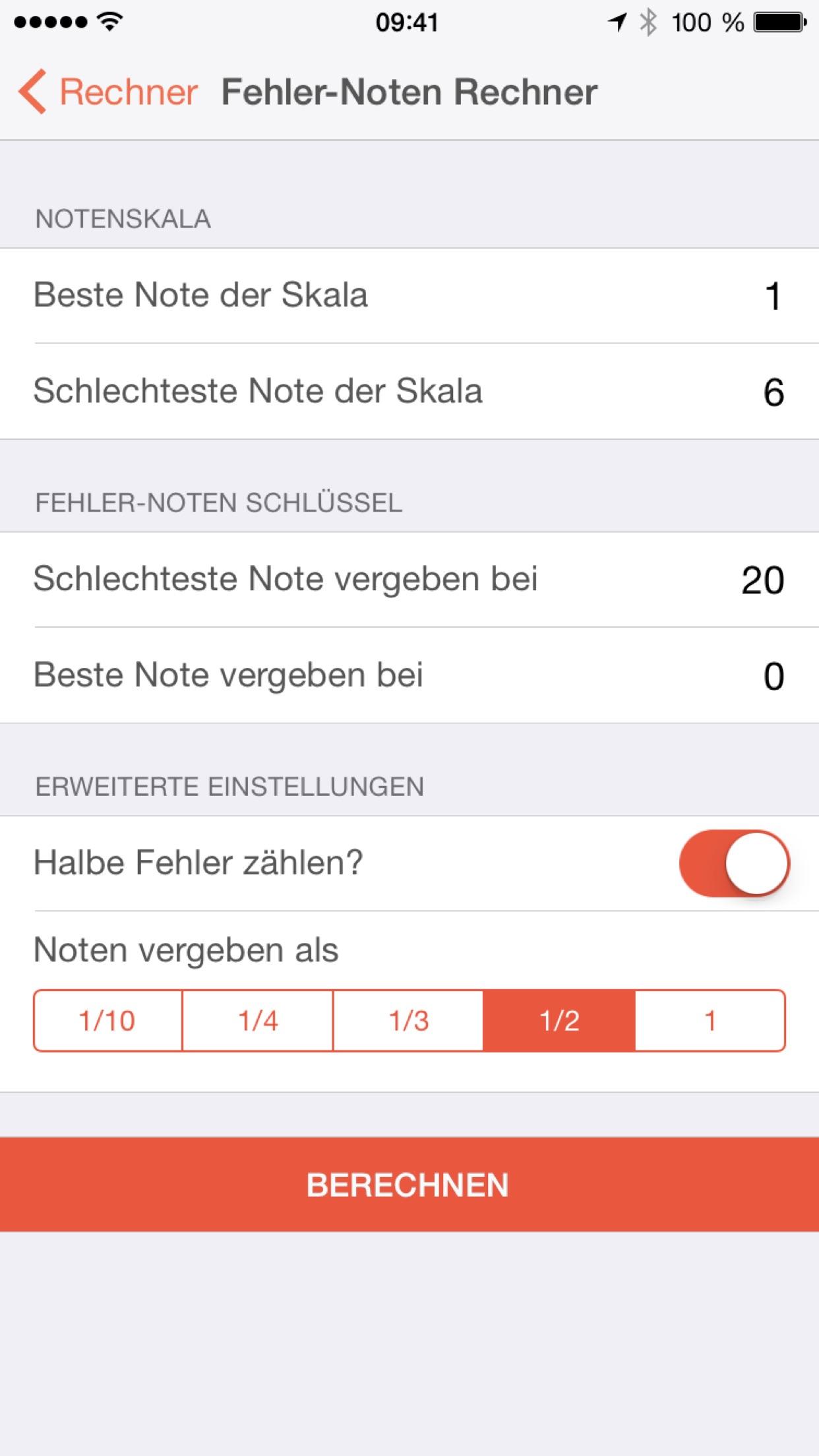 Notenrechner - Punkte-Noten & Fehler-Noten Rechner für Lehrer Screenshot