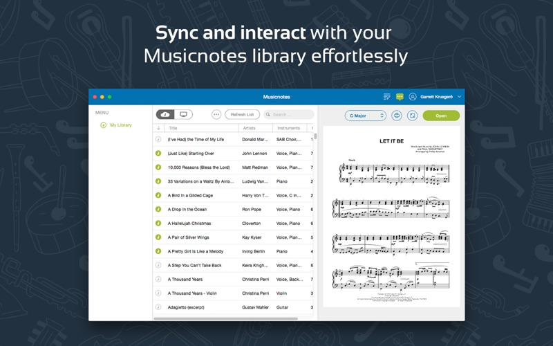 Musicnotes Sheet Music Player Screenshot