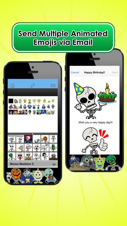 Emoji Kingdom 13  Free Skull Halloween Emoticon Animated for iOS 8 screenshot-3