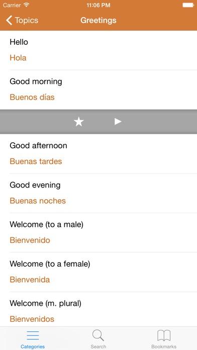 Spanish Phrasebook: Conversational Spanish Screenshot on iOS