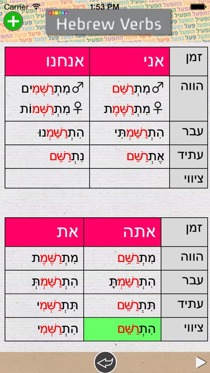 Hebrew Verbs & Conjugations | PROLOG screenshot-3
