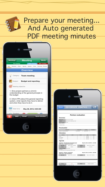 Smart meeting minutes multi sync - Schedule & action item check list