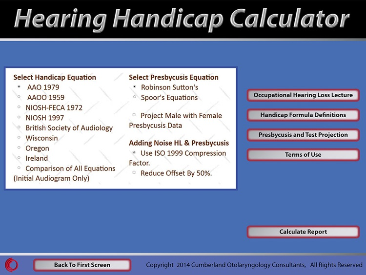 Hearing Handicap Calculator